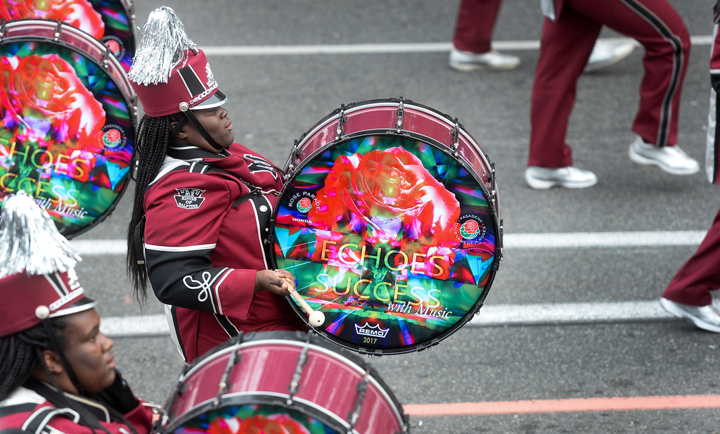 . An MLK High School bass drum player from Lithonia, Georgia plays during the Rose Parade on Colorado Blvd. in Pasadena, Calif. on Monday,  January 2, 2017.  (Photo by Keith Durflinger/Pasadena Star News/SCNG)