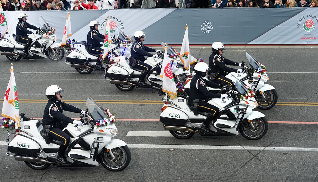 . Pasadena Police motorcycle Officers during the Rose Parade on Colorado Blvd. in Pasadena, Calif. on Monday,  January 2, 2017.  (Photo by Leo Jarzomb/Pasadena Star News/SCNG)