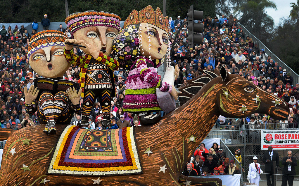 """. The American Armenian Float Association\'s \""""Field of Dreams\"""" during the Rose Parade on Colorado Blvd. in Pasadena, Calif. on Monday,  January 2, 2017.  (Photo by Leo Jarzomb/Pasadena Star News/SCNG)"""