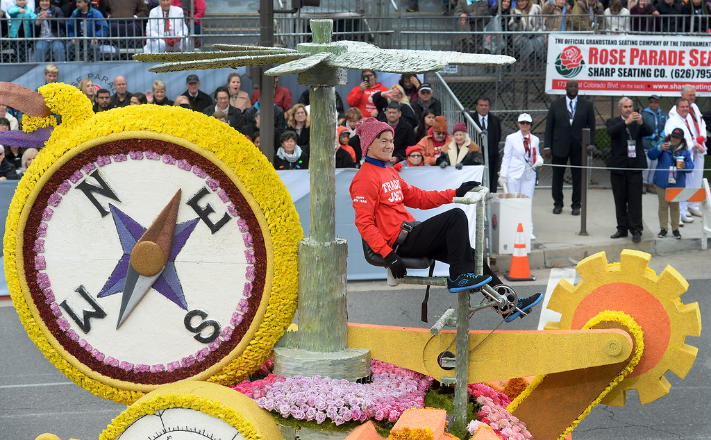""". Trader Joe\'s float \""""All Aboard! 50 years of Serving the Best\"""" wins the Tournament Special Trophy during the Rose Parade on Colorado Blvd. in Pasadena, Calif. on Monday,  January 2, 2017.  (Photo by Leo Jarzomb/Pasadena Star News/SCNG)"""