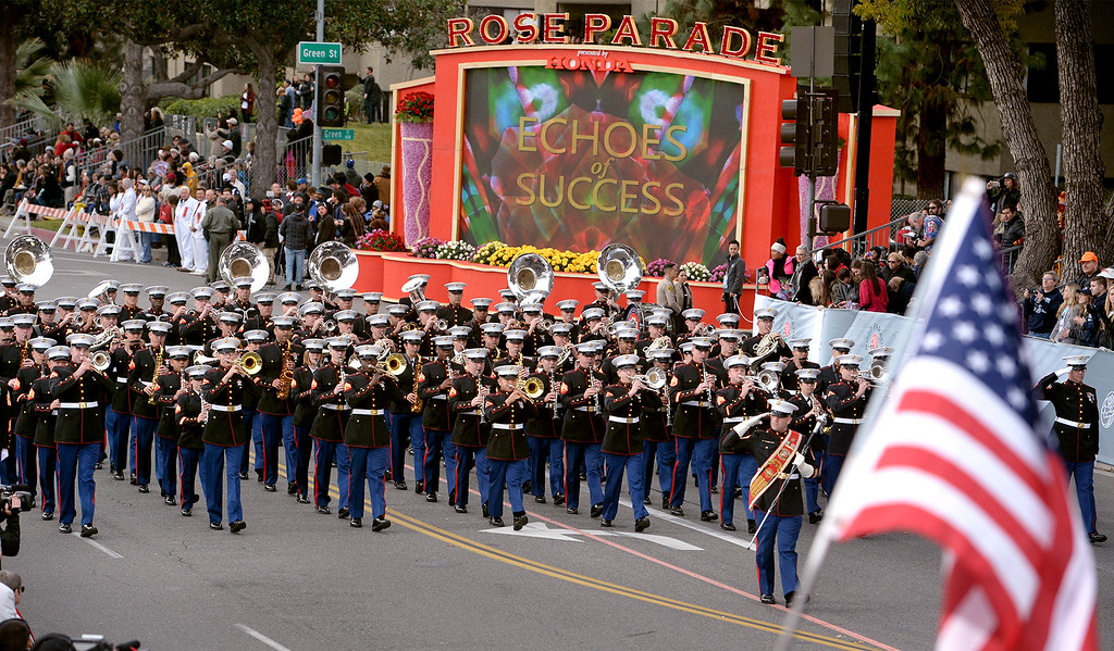 . United States Marine Corps West Coast Composite Band during the Rose Parade in Pasadena, Calif. on Monday, Jan. 2, 2017.  (Photo by Leo Jarzomb, SGV Tribune/ SCNG)