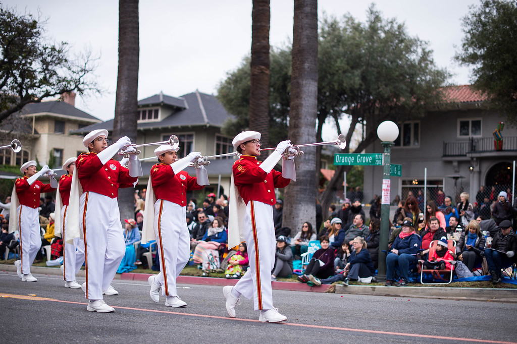 . Pasadena City College Honor Band unit presents the Royal Court  during the 2017 Rose Parade along Orange Grove Boulevard in Pasadena, Calif. on Monday, Jan. 2, 2017. (Photo by Sarah Reingewirtz, Pasadena Star-News/SCNG)