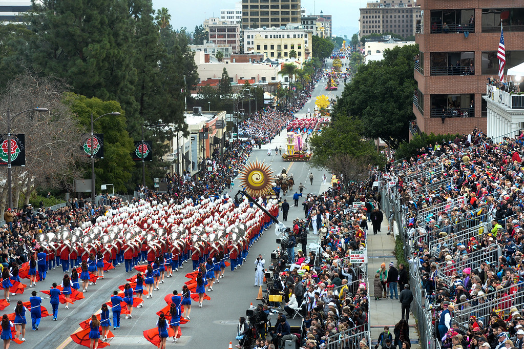 . The Los Angeles Unified School District All District High School Honor Band marches during the Rose Parade on Colorado Blvd. in Pasadena, Calif. on Monday,  January 2, 2017.   (Photo by Keith Durflinger/Pasadena Star News/SCNG)