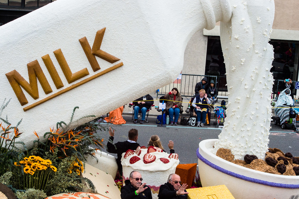 . California Milk Advisory Board �Legacy of Generations� float on Colorado Blvd. during the 2017 Rose Parade in Pasadena on Monday, January 2, 2017. (Photo by Watchara Phomicinda, San Gabriel Valley Tribune/ SCNG)