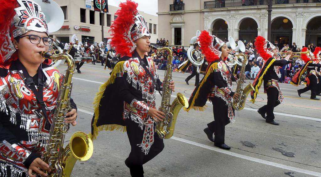 """. Member of the Buhos Marching Band, Xalapa, Veracruz, Mexico 128th Rose Parade \""""Echoes of Success\"""". (Photo by Walt Mancini/SCNG)"""