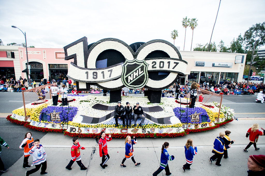 . National Hockey League - �A Century of NHL Greatness� float on Colorado Blvd. during the 2017 Rose Parade in Pasadena on Monday, January 2, 2017. (Photo by Watchara Phomicinda, San Gabriel Valley Tribune/ SCNG)