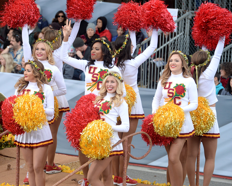. USC cheerleaders during the Rose Parade in Pasadena, Calif. on Monday, Jan. 2, 2017.  (Photo by Leo Jarzomb, SGV Tribune/ SCNG)