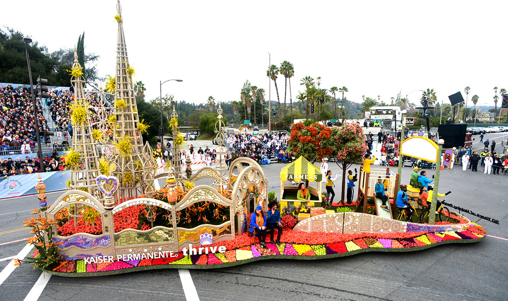 """. The Kaiser Permanente float \""""50 Years of Helping People Grow\"""" during the Rose Parade on Colorado Blvd. in Pasadena, Calif. on Monday,  January 2, 2017.  (Photo by Leo Jarzomb/Pasadena Star News/SCNG)"""