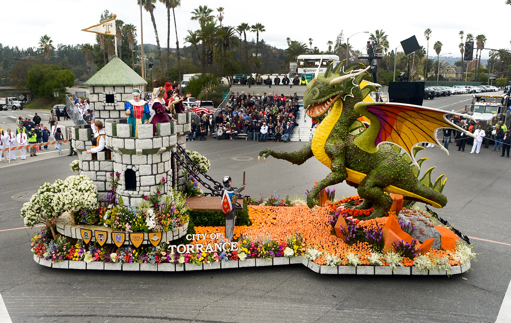 ". The Torrance Rose Float Association float ""Be Your Own Knight\"" wins the Tournament Volunteers Trophy during the Rose Parade on Colorado Blvd. in Pasadena, Calif. on Monday,  January 2, 2017.  (Photo by Leo Jarzomb/Pasadena Star News/SCNG)"