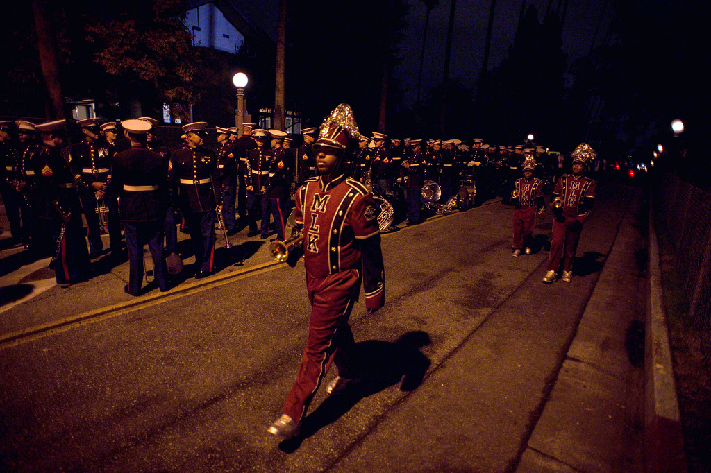 . The MLK Band from Atlanta passes the Marine Band before the start of the 2017 Rose Parade in Pasadena, Calif. on Monday, Jan. 2, 2017. (Photo by Sarah Reingewirtz, Pasadena Star-News/SCNG)