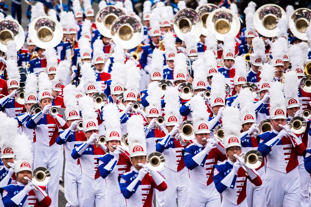 . Bands of America Honor Band (representing all 50 states) perform on Colorado Blvd. during the 2017 Rose Parade in Pasadena on Monday, January 2, 2017. (Photo by Watchara Phomicinda, San Gabriel Valley Tribune/ SCNG)