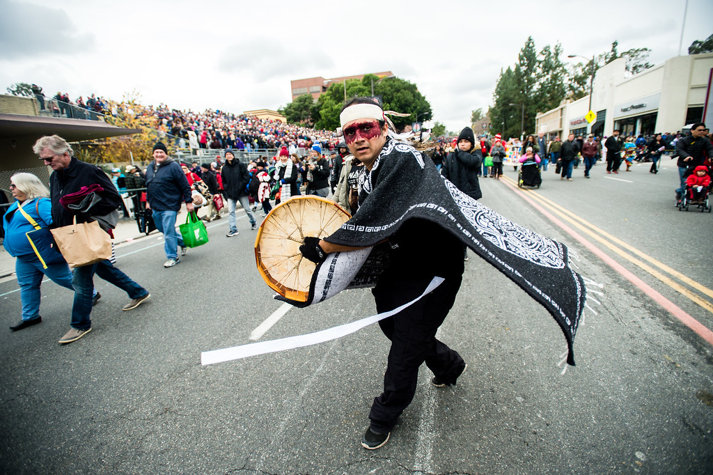 . Anti-Dakota Access pipeline activists march at the end of the 2017 Rose Parade in Pasadena on Monday, January 2, 2017. (Photo by Watchara Phomicinda, San Gabriel Valley Tribune/ SCNG)