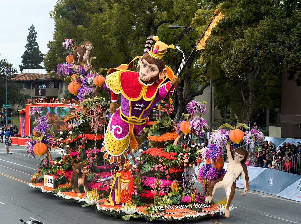 """. The BDK Singpoli float The Monkey King: Journey to Success\"""" wins the Fantasy Trophy during the Rose Parade on Colorado Blvd. in Pasadena, Calif. on Monday,  January 2, 2017.  (Photo by Leo Jarzomb/Pasadena Star News/SCNG)"""