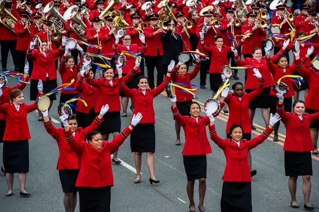 . The Salvation Army Tournament of Roses Band on Colorado Blvd. during the 2017 Rose Parade in Pasadena on Monday, January 2, 2017. (Photo by Watchara Phomicinda, San Gabriel Valley Tribune/ SCNG)