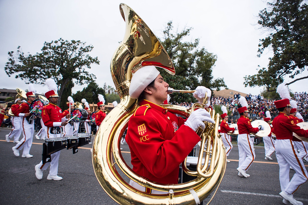 . Pasadena City College Honor Band performs during the 2017 Rose Parade along Orange Grove Boulevard in Pasadena, Calif. on Monday, Jan. 2, 2017. (Photo by Sarah Reingewirtz, Pasadena Star-News/SCNG)
