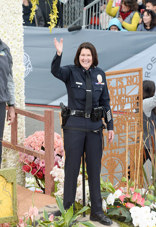 """. LAPD Commander Anne Clark, center, on the City of Hope Float \""""Miracle of Science with Soul\"""" during the Rose Parade on Colorado Blvd. in Pasadena, Calif. on Monday,  January 2, 2017.  (Photo by Leo Jarzomb/Pasadena Star News/SCNG)"""