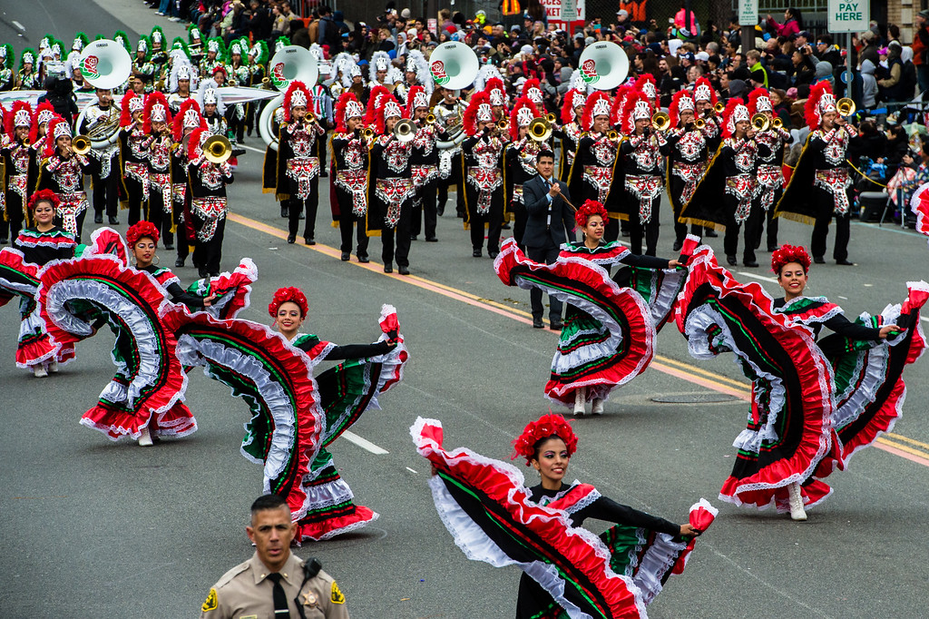 . Escuela Secundaria Tecnica Industrial No. 3, Buhos Marching Band on Colorado Blvd. during the 2017 Rose Parade in Pasadena on Monday, January 2, 2017. (Photo by Watchara Phomicinda, San Gabriel Valley Tribune/ SCNG)
