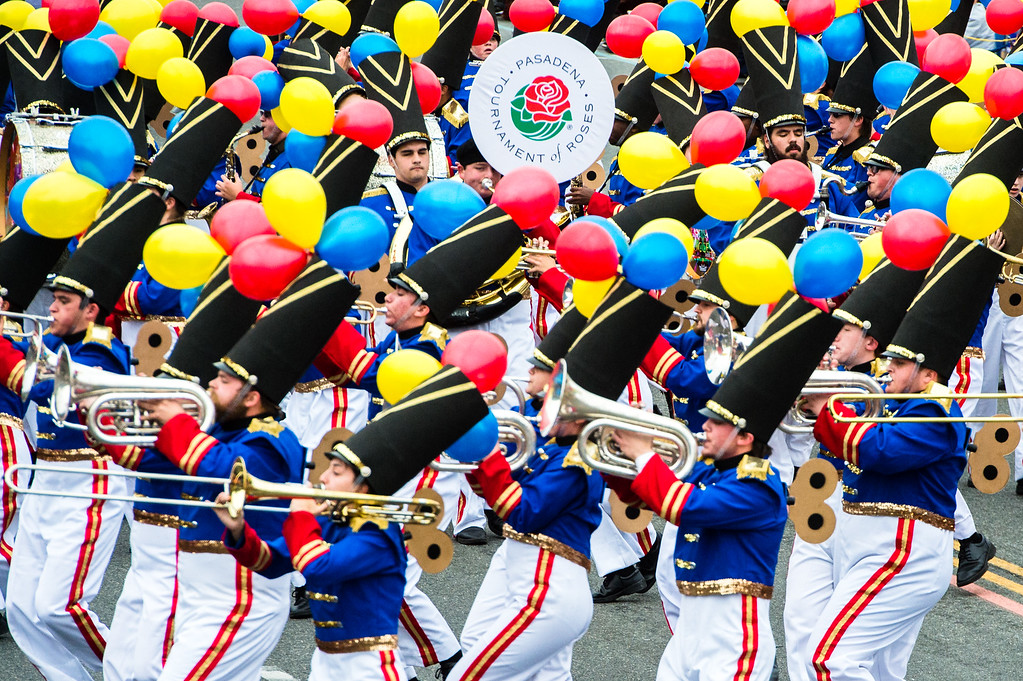 . Ooltewah High School Marching Band of Ooltewah, Tenn. perform on Colorado Blvd. during the 2017 Rose Parade in Pasadena on Monday, January 2, 2017. (Photo by Watchara Phomicinda, San Gabriel Valley Tribune/ SCNG)