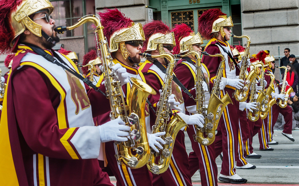 """. USC Marching Band in the 128th Rose Parade \""""Echoes of Success\"""". (Photo by Walt Mancini/SCNG)"""