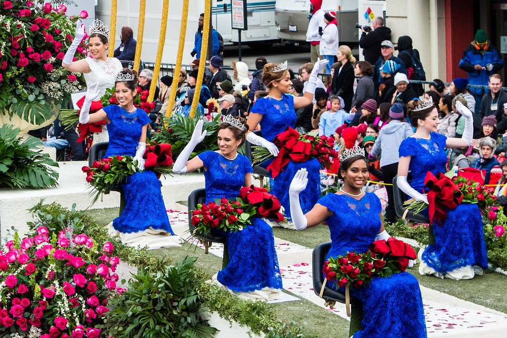 . Royal Court: Queen Victoria Castellanos of Temple City; Princess Audrey Cameron of Pasadena; Princess Maya Khan of South Pasadena; Princess Shannon Larsuel of Altadena; Princess Autumn Lundy of Altadena; Princess Natalie Petrosian of La Cañada Flintridge; Princess Lauren Powers of Pasadena on Colorado Blvd. during the 2017 Rose Parade in Pasadena on Monday, January 2, 2017. (Photo by Watchara Phomicinda, San Gabriel Valley Tribune/ SCNG)