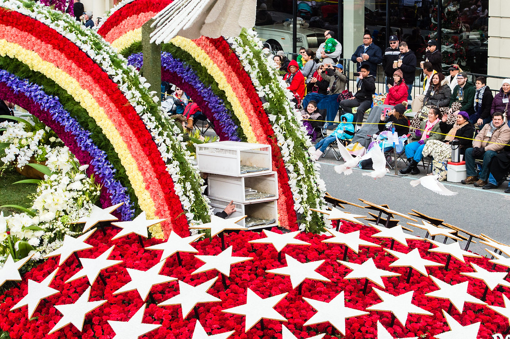 . AIDS Healthcare Foundation �To Honor & Remember Orlando� on Colorado Blvd. during the 2017 Rose Parade in Pasadena on Monday, January 2, 2017. (Photo by Watchara Phomicinda, San Gabriel Valley Tribune/ SCNG)