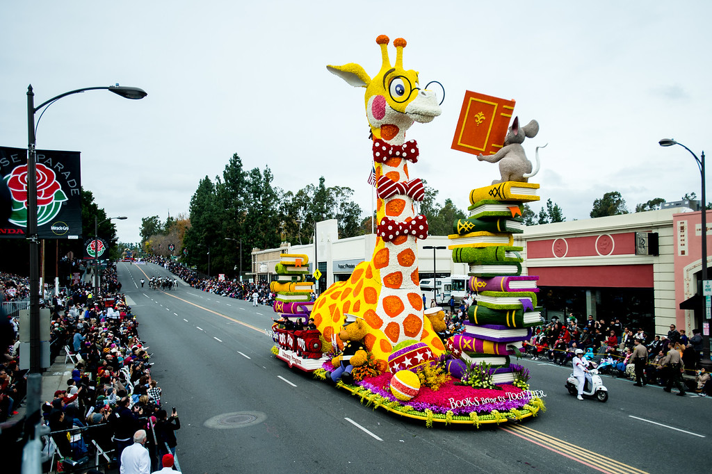 . Isabella Coleman award winner, the UPS Store �Books Bring Us Together� float on Colorado Blvd. during the 2017 Rose Parade in Pasadena on Monday, January 2, 2017. (Photo by Watchara Phomicinda, San Gabriel Valley Tribune/ SCNG)