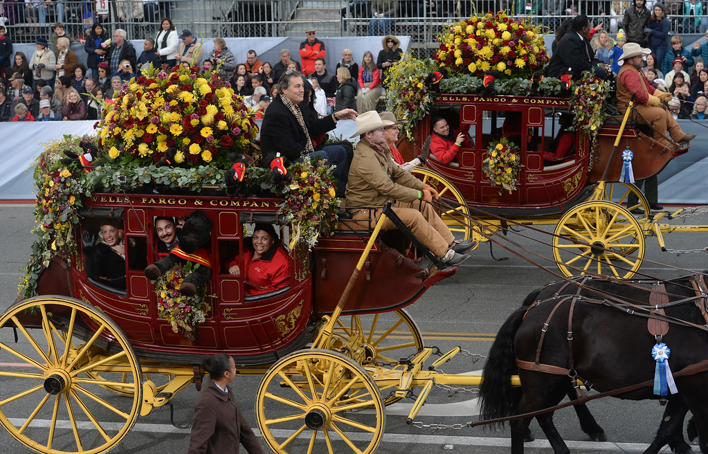 . The Wells Fargo Stagecoaches during the Rose Parade on Colorado Blvd. in Pasadena, Calif. on Monday,  January 2, 2017.  (Photo by Leo Jarzomb/Pasadena Star News/SCNG)