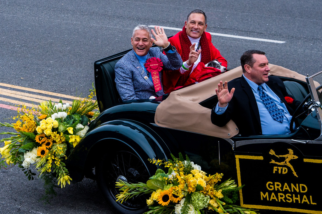 . Olympic diver Greg Louganis, left, co-Grand Marshall, rides in the 2017 Rose Parade in Pasadena on Monday, January 2, 2017. (Photo by Watchara Phomicinda, San Gabriel Valley Tribune/ SCNG)