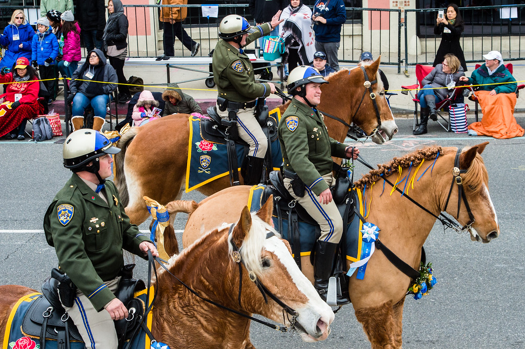 . California Highway Patrol Mounted Patrol Unit ride on Colorado Blvd. during the 2017 Rose Parade in Pasadena on Monday, January 2, 2017. (Photo by Watchara Phomicinda, San Gabriel Valley Tribune/ SCNG)