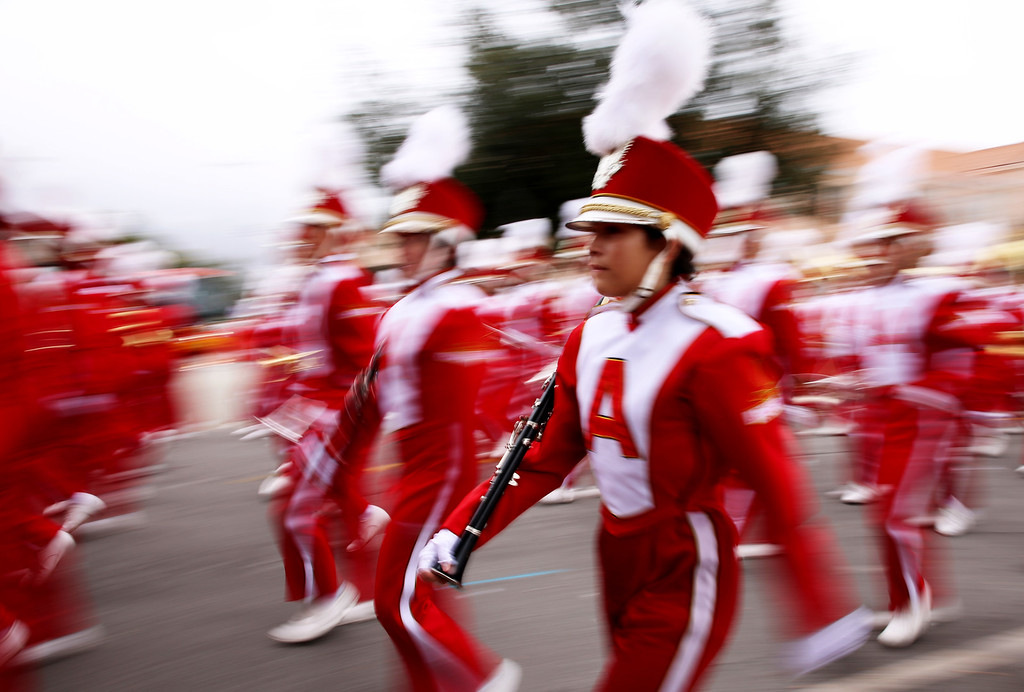. Arcadia\'s marching band stays in formation after completing the 128th Rose Parade in Pasadena, Calif. on Monday, Jan. 2, 2017. (Photo by Trevor Stamp)