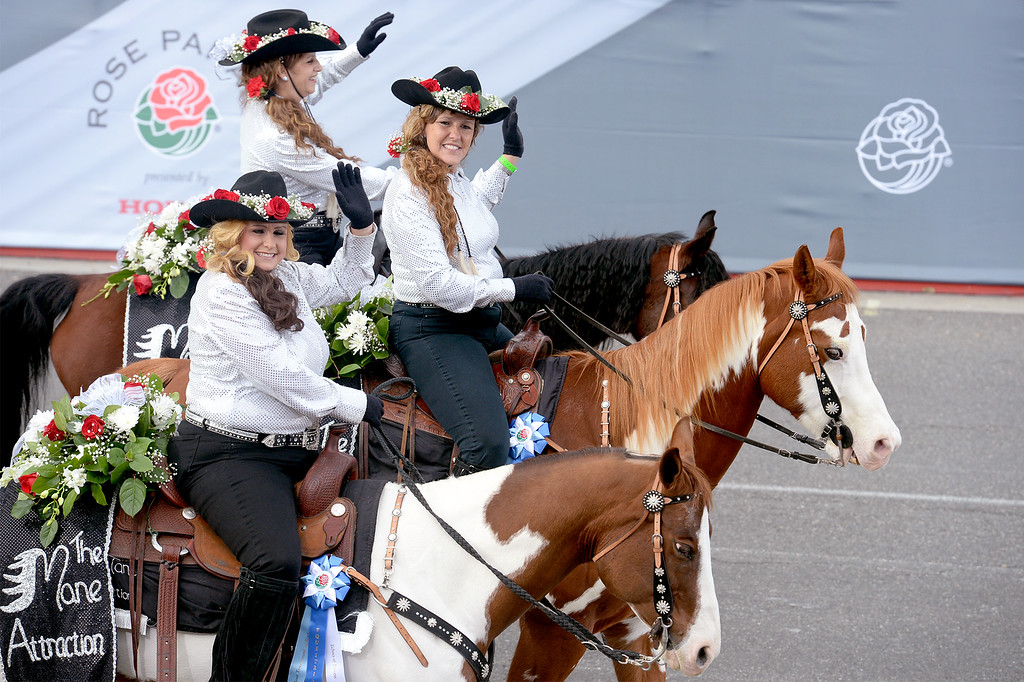 . Members of the Mane Attraction Equestrian Drill Team of Riverside, Calif. during the Rose Parade in Pasadena, Calif. on Monday, Jan. 2, 2017.  (Photo by Leo Jarzomb, SGV Tribune/ SCNG)