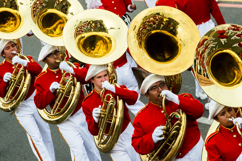 . Pasadena City College Tournament of Roses Honor Band on Colorado Blvd. during the 2017 Rose Parade in Pasadena on Monday, January 2, 2017. (Photo by Watchara Phomicinda, San Gabriel Valley Tribune/ SCNG)on Colorado Blvd. during the 2017 Rose Parade in Pasadena on Monday, January 2, 2017. (Photo by Watchara Phomicinda, San Gabriel Valley Tribune/ SCNG)
