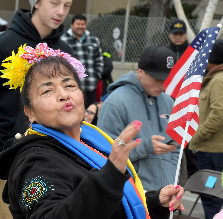 ". Alicia Ortiz of Highland Park blowing Happy New Year kisses at 128th Rose Parade ""Echoes of Success\"". (Photo by Walt Mancini/SCNG)"