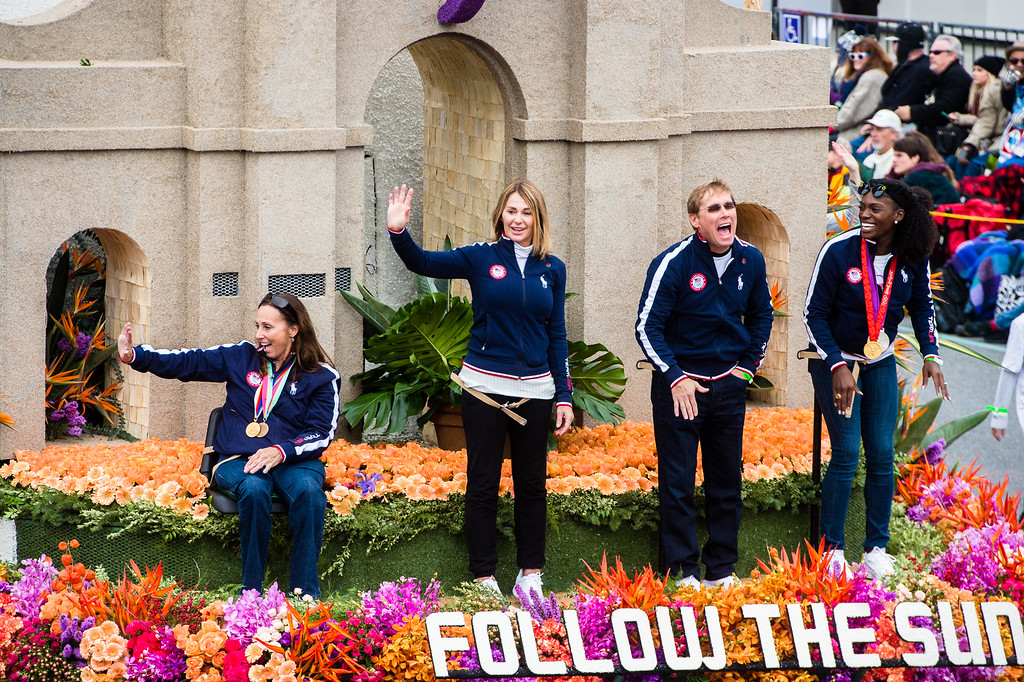 . Olympic and Paralympic legends ride on the Los Angeles float  �Follow The Sun� on Colorado Blvd. during the 2017 Rose Parade in Pasadena on Monday, January 2, 2017. (Photo by Watchara Phomicinda, San Gabriel Valley Tribune/ SCNG)