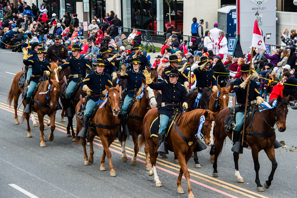 . 1st Cavalry Division Horse Cavalry Detachment of Fort Hood, Texas on Colorado Blvd. during the 2017 Rose Parade in Pasadena on Monday, January 2, 2017. (Photo by Watchara Phomicinda, San Gabriel Valley Tribune/ SCNG)
