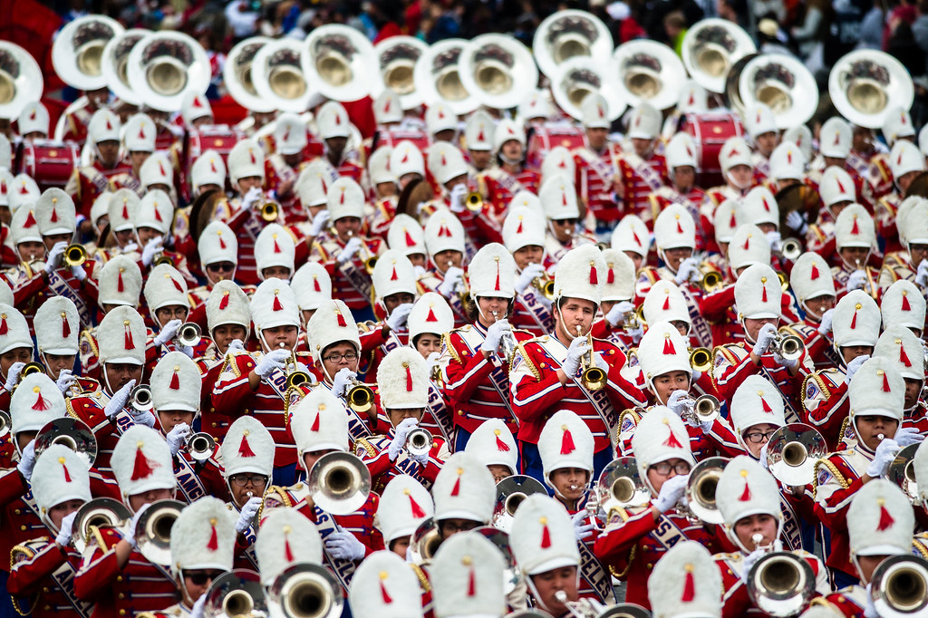 . Los Angeles Unified School District - All District High School Honor Band perform on Colorado Blvd. during the 2017 Rose Parade in Pasadena on Monday, January 2, 2017. (Photo by Watchara Phomicinda, San Gabriel Valley Tribune/ SCNG)