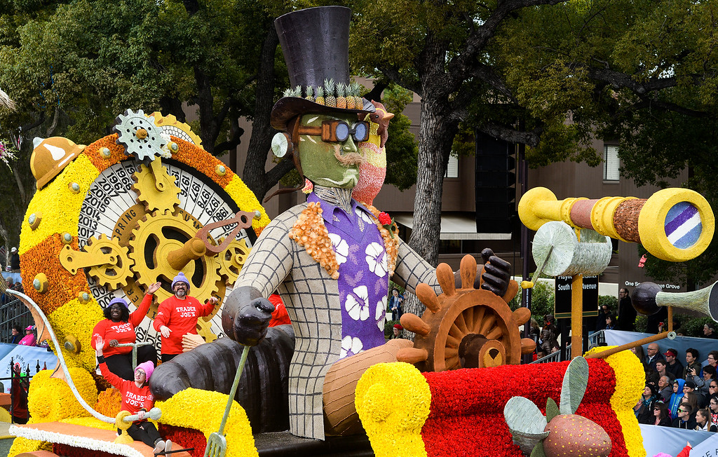 ". Trader Joe\'s float ""All Aboard! 50 years of Serving the Best\"" wins the Tournament Special Trophy during the Rose Parade on Colorado Blvd. in Pasadena, Calif. on Monday,  January 2, 2017.  (Photo by Leo Jarzomb/Pasadena Star News/SCNG)"