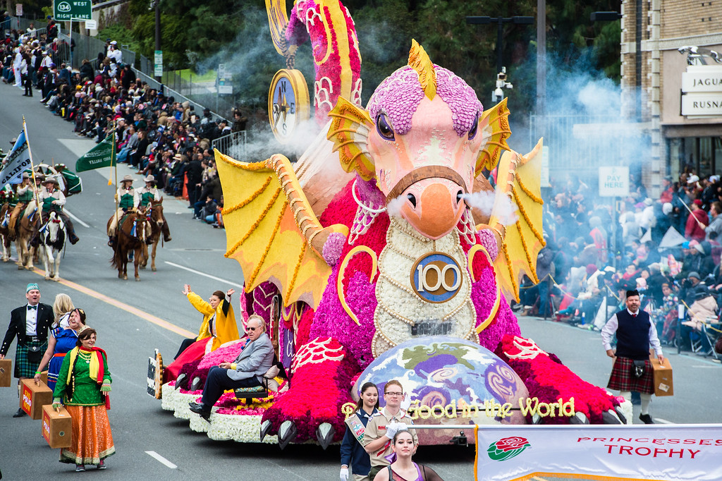 . Princess\' award winner, Rotary Rose Parade Float Committee  �Doing Good in the World� on Colorado Blvd. during the 2017 Rose Parade in Pasadena on Monday, January 2, 2017. (Photo by Watchara Phomicinda, San Gabriel Valley Tribune/ SCNG)