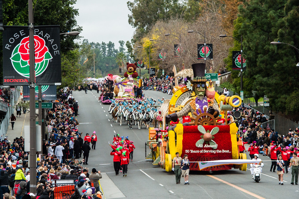 . Tournament Special award winner, Trader Joe�s - �All Aboard: 50 Years of Serving the Best� on Colorado Blvd. during the 2017 Rose Parade in Pasadena on Monday, January 2, 2017. (Photo by Watchara Phomicinda, San Gabriel Valley Tribune/ SCNG)