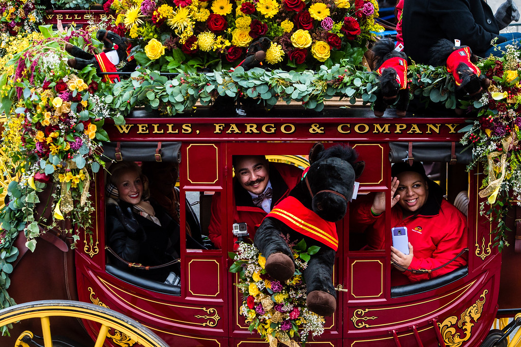 . Wells Fargo Stagecoaches on Colorado Blvd. during the 2017 Rose Parade in Pasadena on Monday, January 2, 2017. These stagecoaches are reproductions of the Abbott-Downing ones originally purchased in the 1800s and used to deliver mail and other communication between the East and West Coasts. (Photo by Watchara Phomicinda, San Gabriel Valley Tribune/ SCNG)