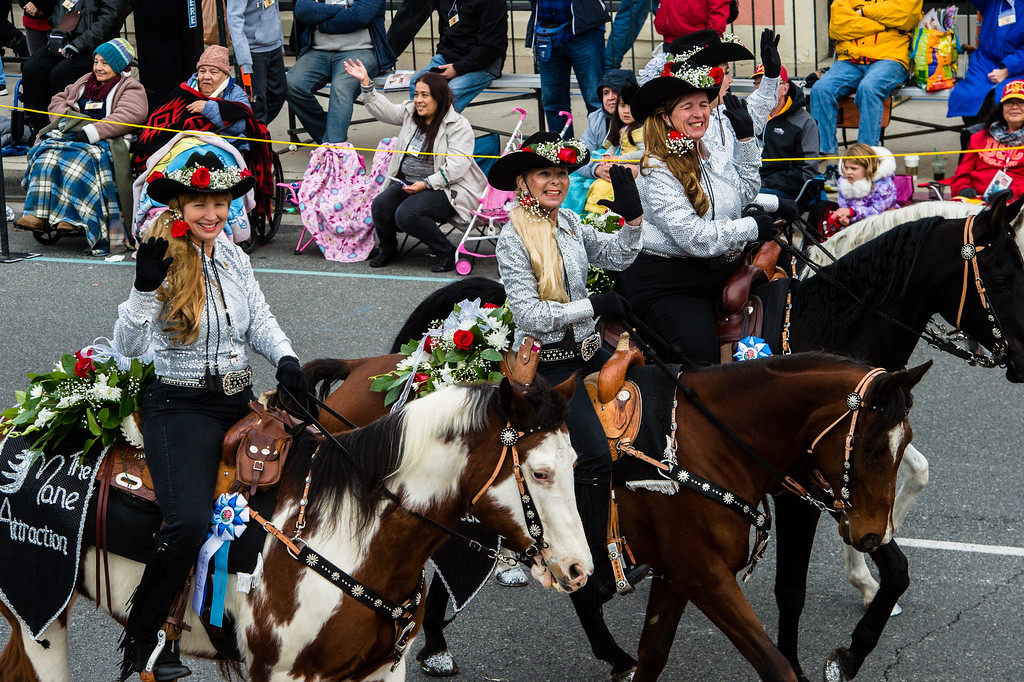 . Mane Attraction Equestrian Drill Team on Colorado Blvd. during the 2017 Rose Parade in Pasadena on Monday, January 2, 2017. (Photo by Watchara Phomicinda, San Gabriel Valley Tribune/ SCNG)