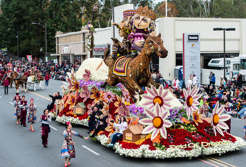 . American Armenian Rose Float Association �Field of Dreams� on Colorado Blvd. during the 2017 Rose Parade in Pasadena on Monday, January 2, 2017. (Photo by Watchara Phomicinda, San Gabriel Valley Tribune/ SCNG)