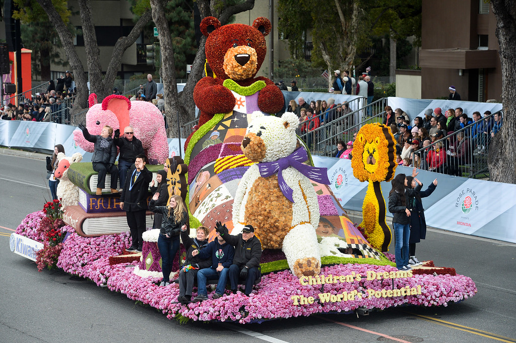 """. The Kiwanis float \""""Children\'s Dreams, The World\'s Potential\"""" during the Rose Parade on Colorado Blvd. in Pasadena, Calif. on Monday,  January 2, 2017.  (Photo by Leo Jarzomb/Pasadena Star News/SCNG)"""