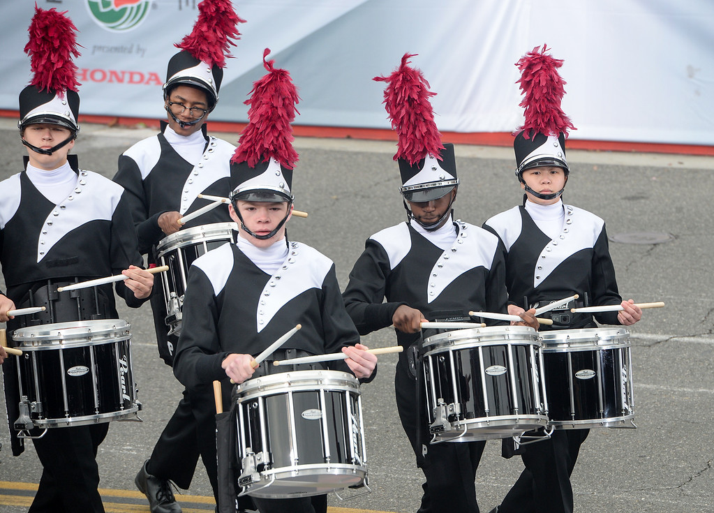 . The Marching Pride of Lawrence Township from Indianapolis, Indiana performs during the Rose Parade on Colorado Blvd. in Pasadena, Calif. on Monday,  January 2, 2017.  (Photo by Leo Jarzomb/Pasadena Star News/SCNG)