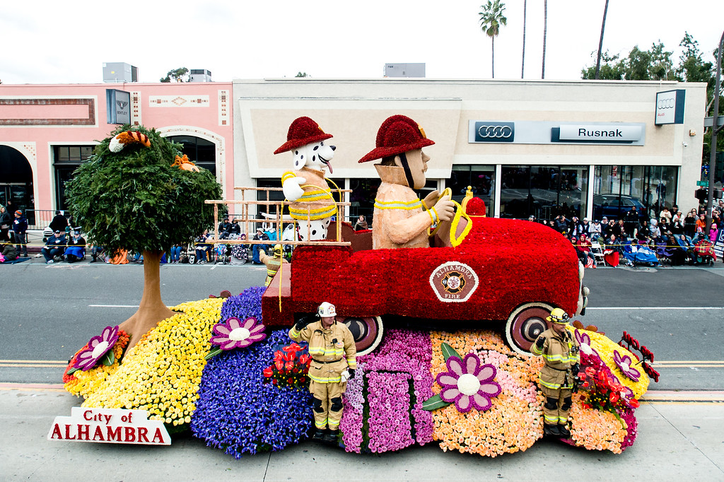 . Alhambra - �No Call Too Small� float on Colorado Blvd. during the 2017 Rose Parade in Pasadena on Monday, January 2, 2017. (Photo by Watchara Phomicinda, San Gabriel Valley Tribune/ SCNG)