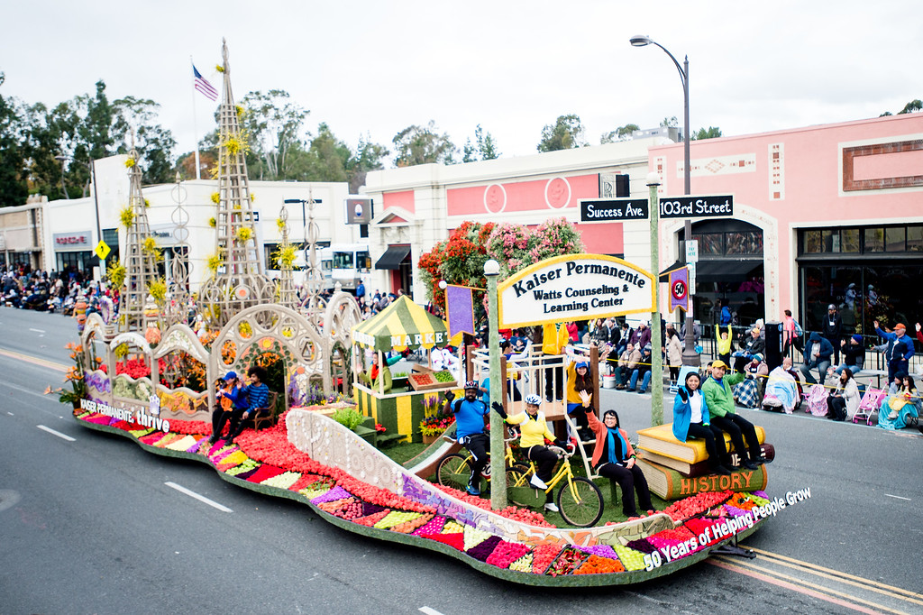 . Kaiser Permanente - �50 Years of Helping People Grow� float on Colorado Blvd. during the 2017 Rose Parade in Pasadena on Monday, January 2, 2017. (Photo by Watchara Phomicinda, San Gabriel Valley Tribune/ SCNG)