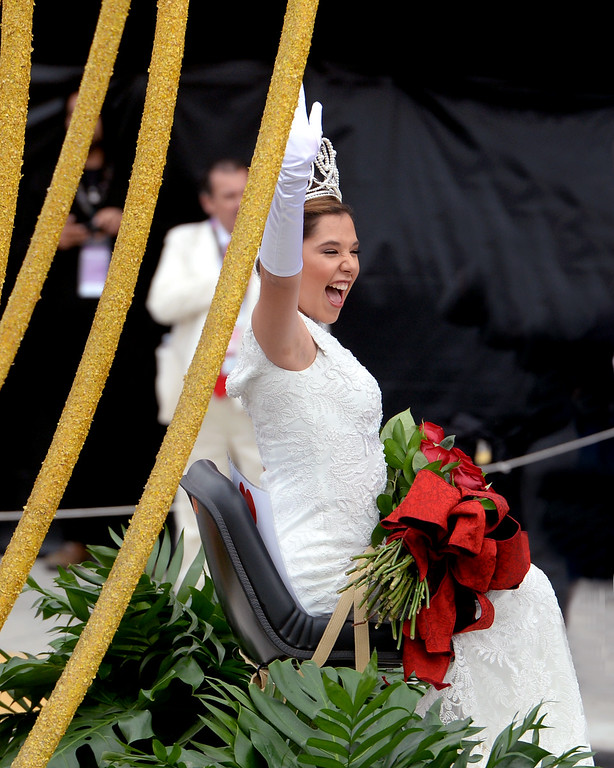 . Rose Parade Queen Victoria Castellanos during the Rose Parade in Pasadena, Calif. on Monday, Jan. 2, 2017.  (Photo by Leo Jarzomb, SGV Tribune/ SCNG)