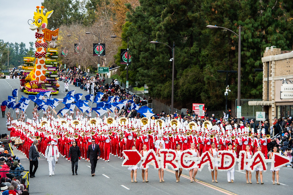 . Arcadia High School Apache Marching Band and Color Guard on Colorado Blvd. during the 2017 Rose Parade in Pasadena on Monday, January 2, 2017. (Photo by Watchara Phomicinda, San Gabriel Valley Tribune/ SCNG)