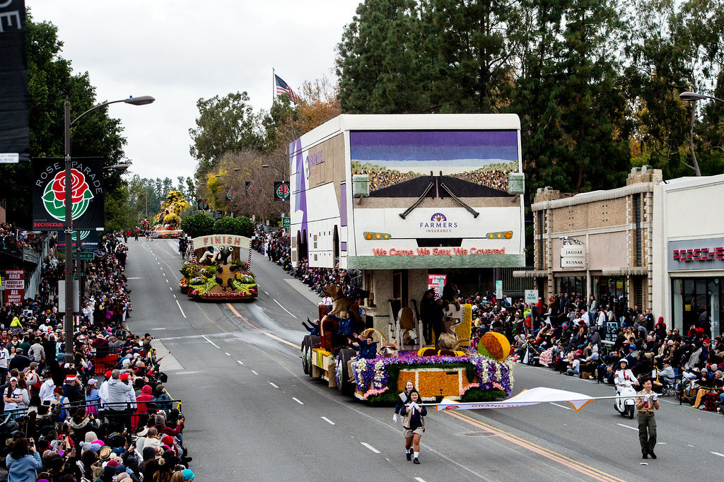 . Farmers Insurance - �We Came, We Saw, We Covered� float on Colorado Blvd. during the 2017 Rose Parade in Pasadena on Monday, January 2, 2017. (Photo by Watchara Phomicinda, San Gabriel Valley Tribune/ SCNG)