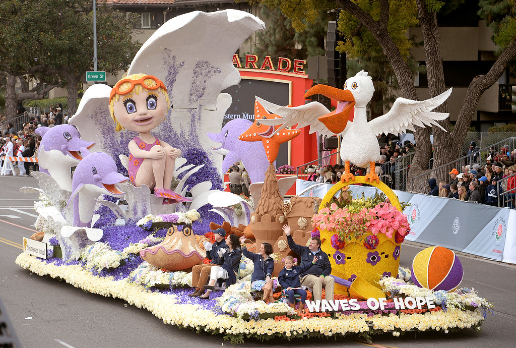 """. Animation award winner, Northwestern Mutual\'s \""""Waves of Hope\"""" during the Rose Parade in Pasadena, Calif. on Monday, Jan. 2, 2017.  (Photo by Leo Jarzomb, SGV Tribune/ SCNG)"""